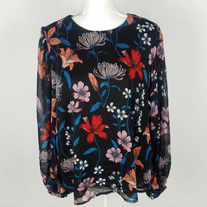 NWOT Who What Wear Black Floral Long Sleeve Top
